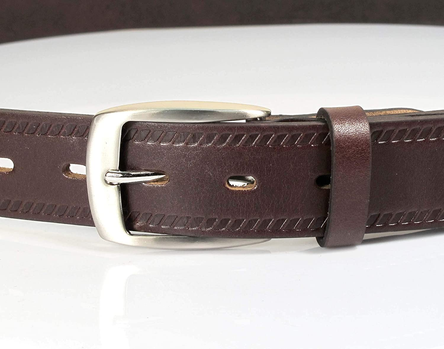 CW1 Womens Real Genuine Leather Dark Brown Belt 1.25 Wide S-XL Thick Casual Jeans