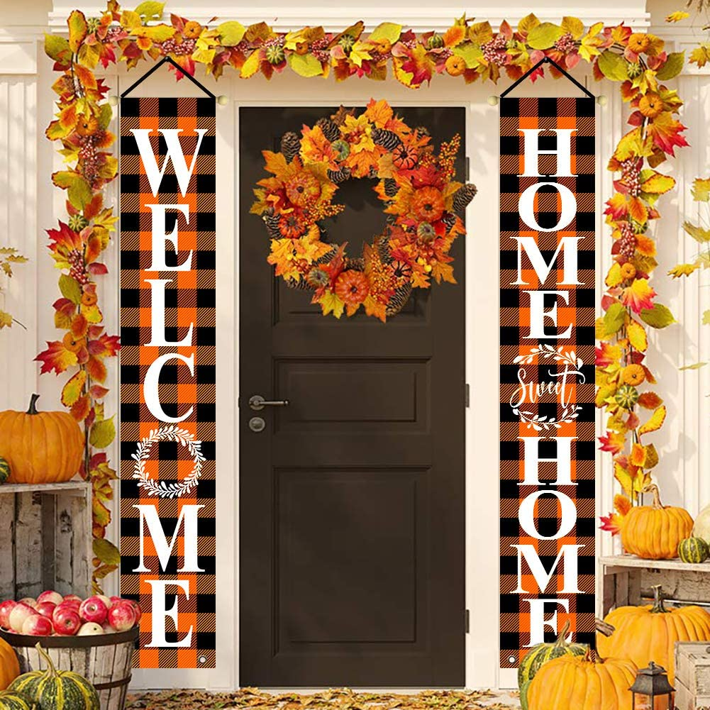 BLKWHT Fall Halloween Orange Black Welcome Porch Sign, Home Sweet Home Hanging Banners for Holiday Home Window Wall Garden Yard Indoor Outdoor Party Decor 12 x 72 Inches