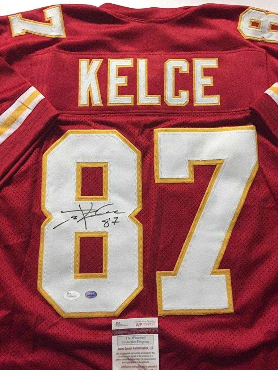 Autographed/Signed Travis Kelce Kansas City Red Football Jersey JSA COA