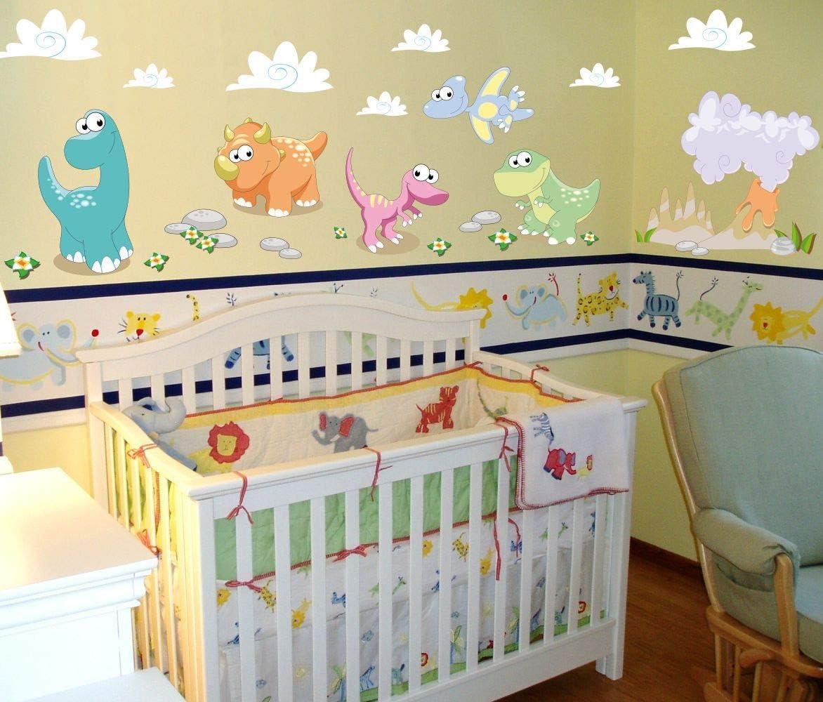 D/écoration murale aux couleurs petrol-taupe-bleu clair lovely label Stickers muraux chambres pour enfants lot de 42 Autocollants pour chambre de b/éb/é avec dinosaures