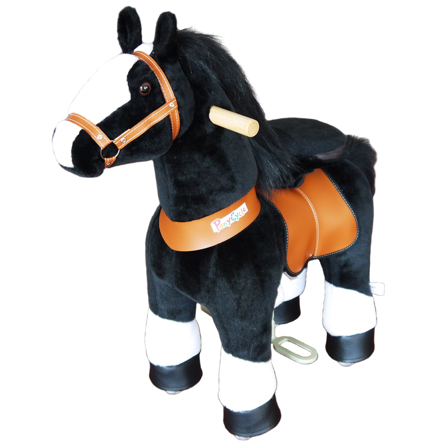 PonyCycle Official PonyCycle Ride On Black Horse With White Hoof No Battery No Electricity Mechanical Horse White & Black Medium for Age 4-9