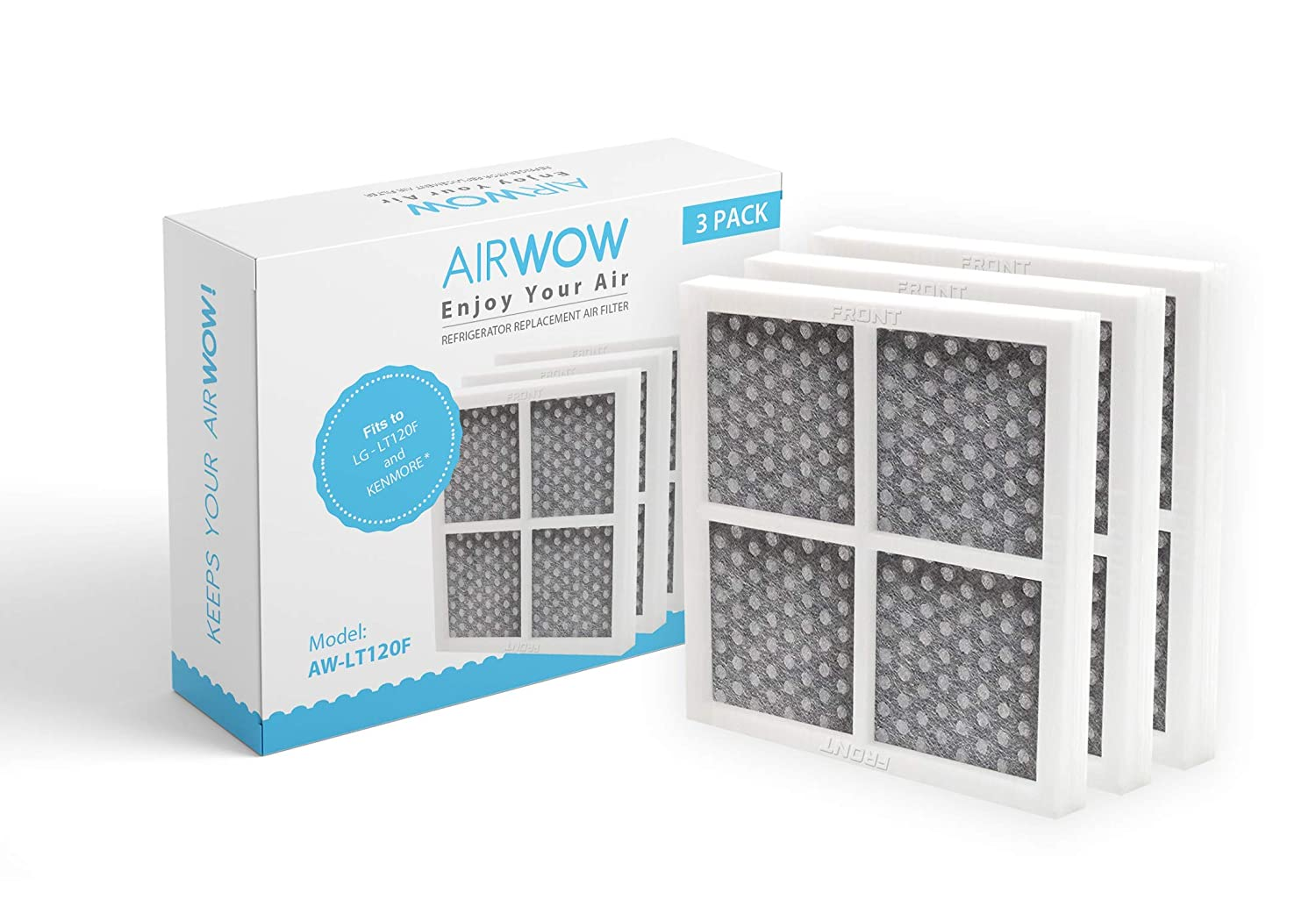 AIRWOW Replacement Refrigerators Air Filter LG LT120F and Kenmore 469918 (3 Pack)