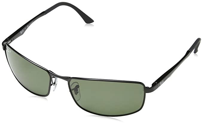 1e8310d023 Ray-Ban 0RB3498 002/9A Polarized Rectangular Sunglasses,Black/Polarized  Green Lens