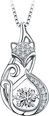 T400 925 Sterling Silver Cat Dog Fox Swan Pendant Necklace with Dancing Diamond Stone Cubic Zirconia Birthday Gift for Women Girls