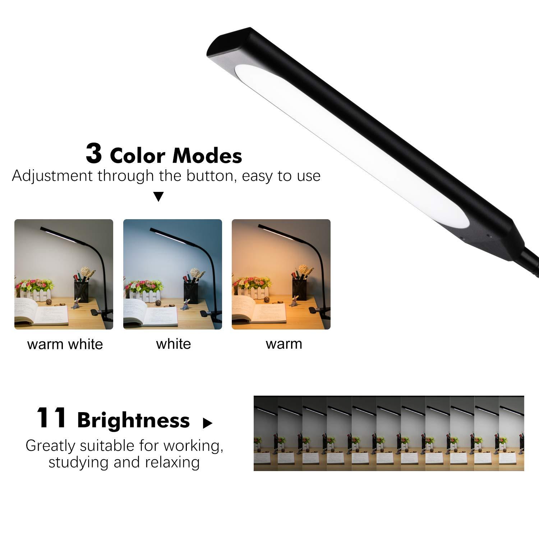 Leselampe mit Klemme Schwarz Topesel LED Schreibtischlampe 5W Tischlampe USB Buchlampe 360/° Flexibel Schwanenhals Dimmbar 11 Helligkeit Augenpflege Klemmleuchte f/ür Wohnzimmer Schlafzimmer B/üro
