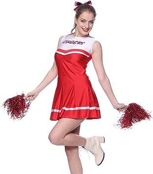 Anladia - Disfraz de Animadora para Adulto Mujer Mini Vestido Rojo ...