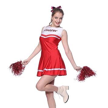 Anladia - Disfraz de animadora Para Adulto Mujer Mini Vestido Rojo con Pompones Talla 38 40 42 (L)