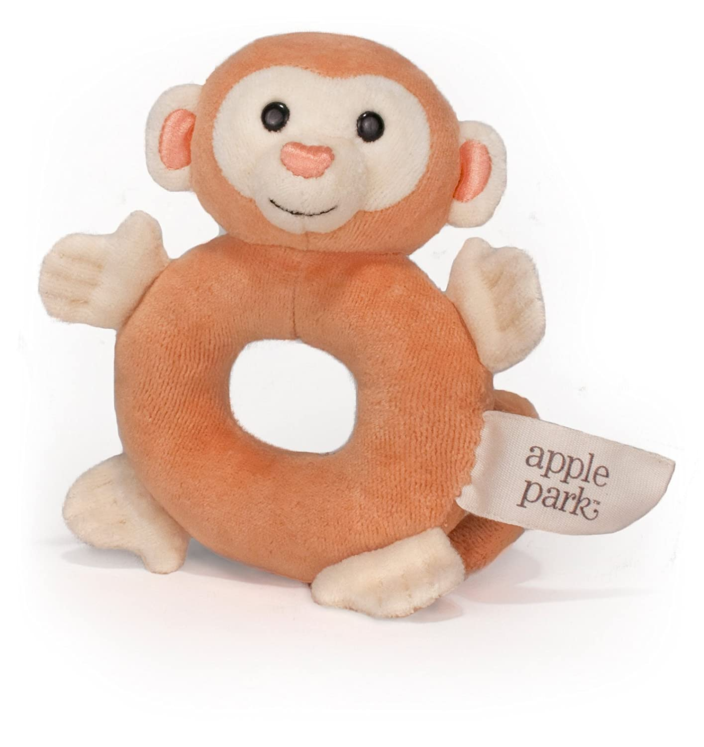 "Apple Park Picnic Pal Organic 5"" Soft Teething Toy, Monkey"