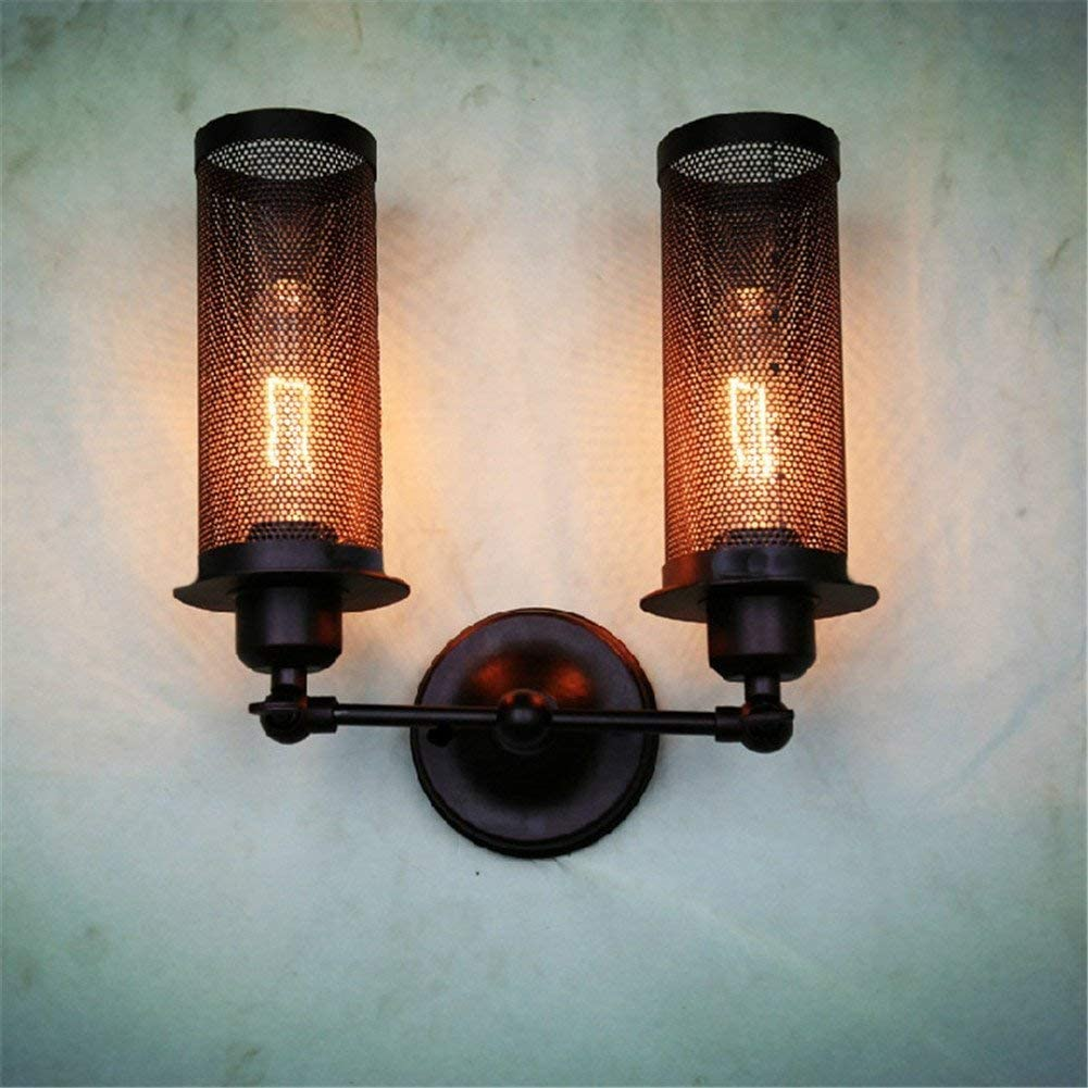 ATC Mini Wire Net Vintage Wall Mounted Sconce Two Head Cylindrical Black Painted Finish Iron Wall Lamp Antique Industrial E27 Bulb Base Fixture Wall Light Adjustable 180 Degree