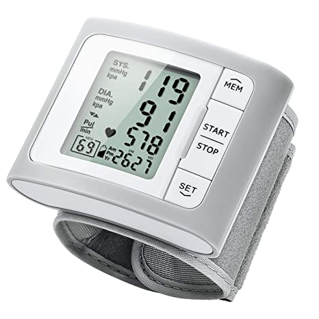 Tensiómetro electrónico – Tensiómetro de muñeca monitor de presión sanguínea para uso doméstico con gemelos