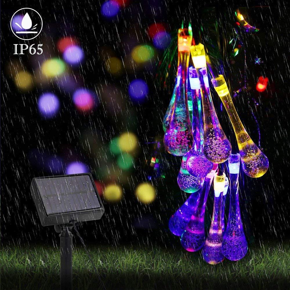 ifOlife Solar String Lights Outdoor Raindrop Lights Solar Power Decoration Twinkle Lights 30Led 21Foot Waterproof Patio Lights for Decor C Wedding Birthday Party Garden Corridor(Colorful)
