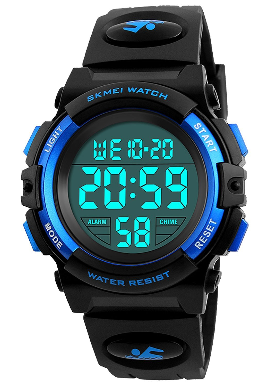 Boys Girls 50M Waterproof Watches,Sports Watch, LED Digital Watch Features Alarm, Stopwatch , Kids Watch (Blue)