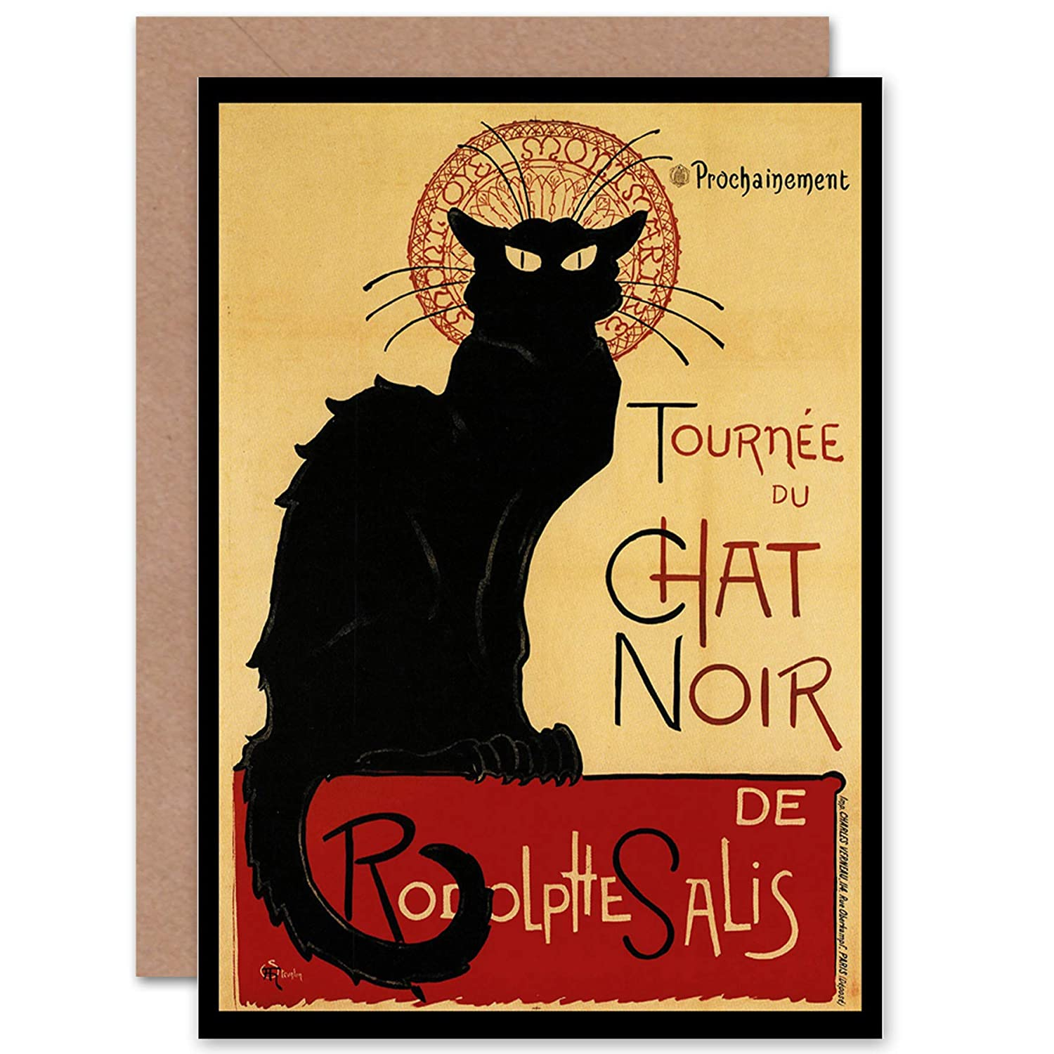 BLACK CAT CHAT NOIR RODOLPHE PARIS FRANCE BIRTHDAY BLANK GREETINGS CARD CP1057 Wee Blue Coo LTD