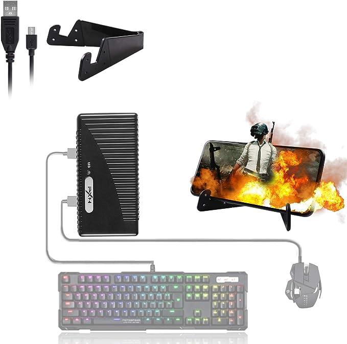 ATUTEN Adaptador de Teclado y Mouse para Juegos móviles, convertidor de Controlador de Juegos móviles USB PXN, Adaptador para Android/iOS PUBG COD. No ...