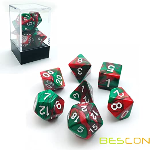 Bescon Christmas Gemini Polyhedral Dice Set, Two-Tone RPG Dice Set of 7 d4 d6 d8 d10 d12 d20 d% Brick Box Pack: Amazon.es: Juguetes y juegos