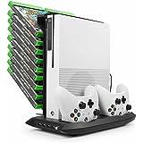 (ユニーケ)Younik XB-02 Xbox One S 縦置きスタンド 4in1冷却クーラーファン コントローラー 2台充電 USBハブ 4ポート ディスク収納 (18個)