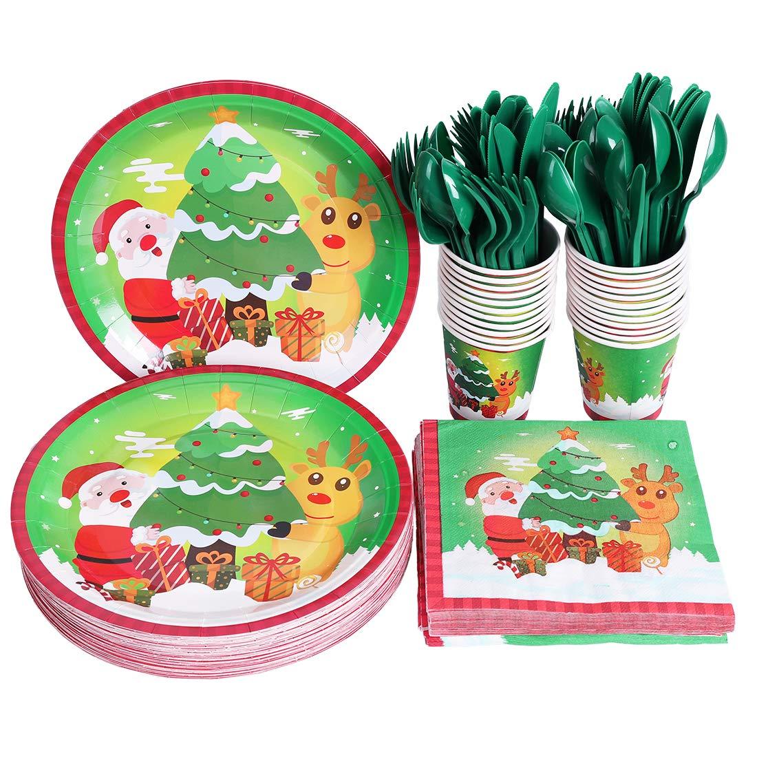 Christmas Party Supplies Set Xmas Party Pack Santa elk Disposable Paper Plates Napkins Tableware Set Dinnerware Serves 50 Guests for Kids