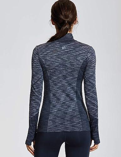 Chaqueta de running para mujer con bolsillos con cremallera y agujeros para el pulgar sudadera atl/ética de manga larga para yoga entrenamiento casual Meja