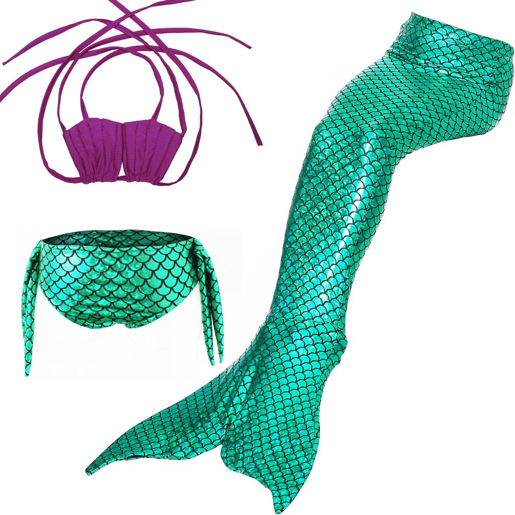 Girls 3 Pcs Mermaid Tail Swimsuit Sets Sea-Maid Swimwear Bikini Bathing Suit,Purple-green,150cm