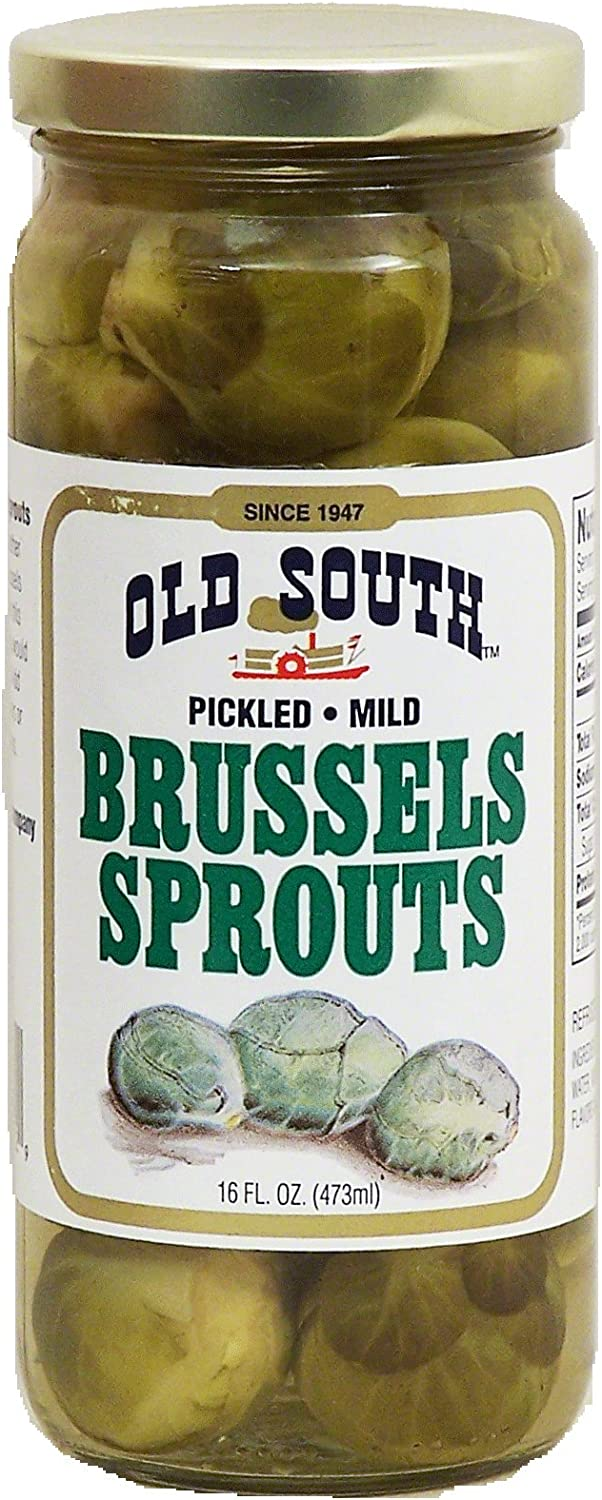 Old South brussels sprouts, pickled, mild, 16-oz. glass jar