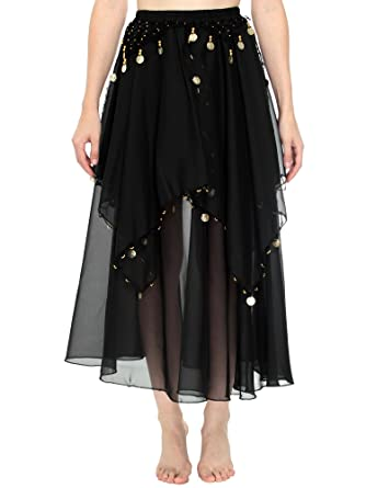 Amazon.com: Simplicity Long Sheer Flowy Chiffon Belly Dance Skirt ...