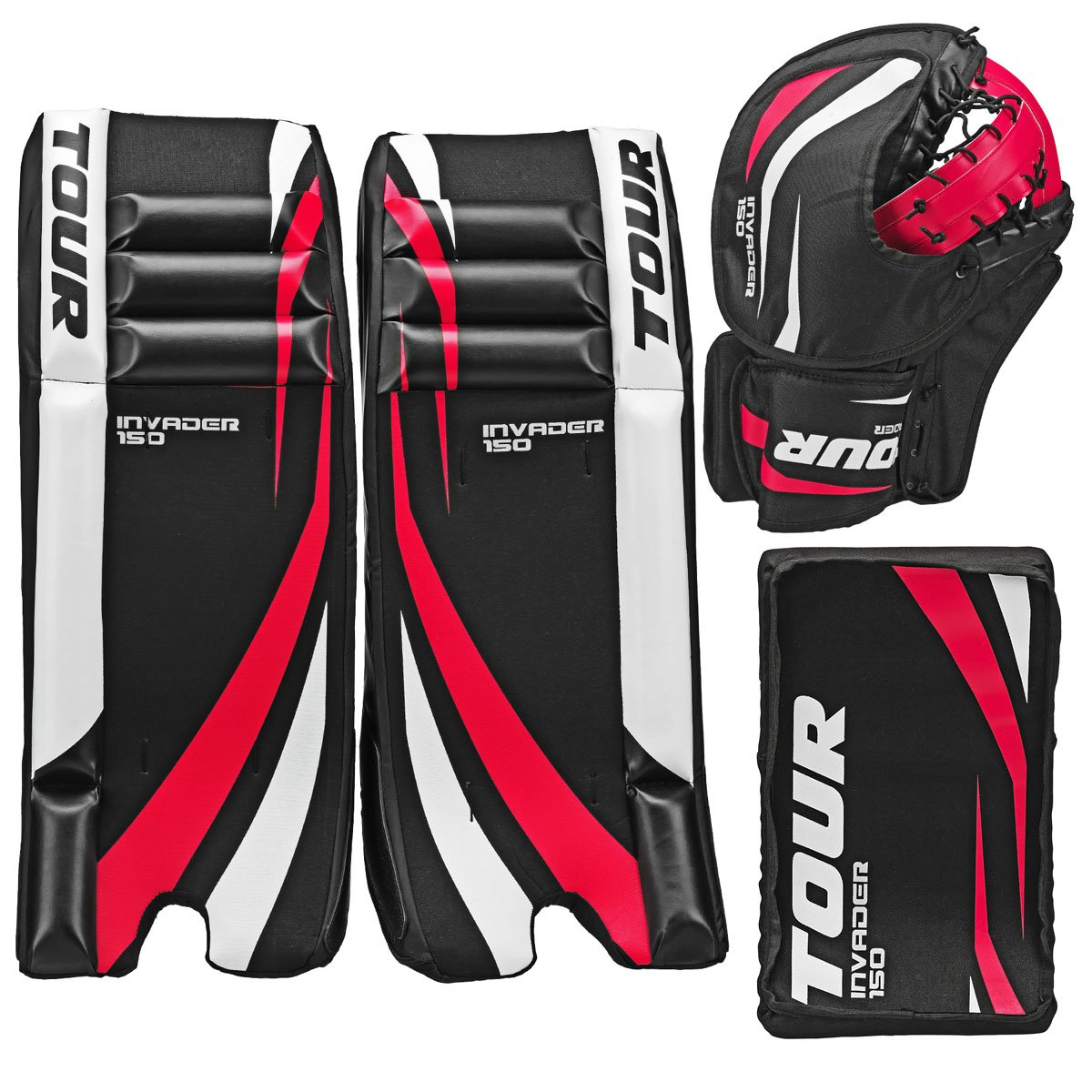 Tour Hockey Youth Invader 150 Hockey Goalie Pad Pack - G105YP (Black-White-Red - 23 Inches)