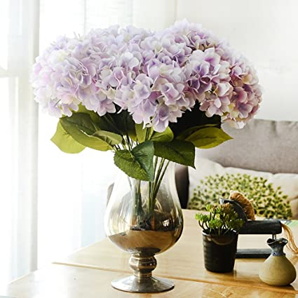 Amazon artificial hydrangea flower bouquetfashionclubs 5 head artificial hydrangea flower bouquetfashionclubs 5 head silk fake hydrangeas faux flower bounch decorative flower mightylinksfo Image collections
