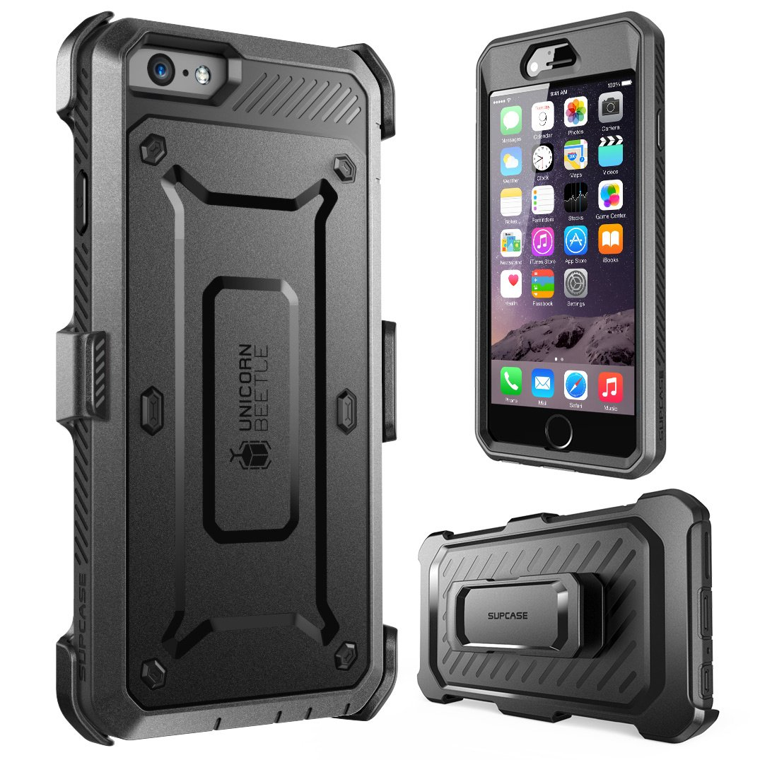 SUPCASE [Unicorn Beetle Pro] Case Designed for iPhone 6S, with Built-In Screen Protector Rugged Holster Cover for Apple IPhone 6 Case / 6S 4.7 Inch display (Black/Black) by SupCase