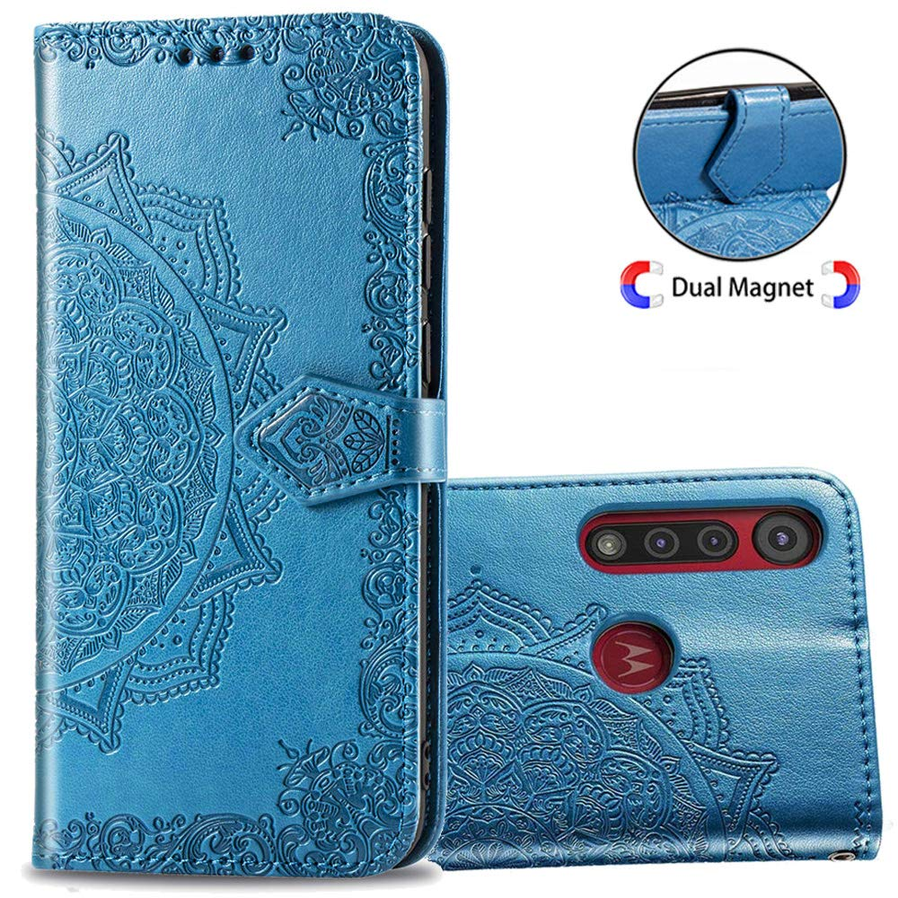 Funda Flip Cover Estilo Mandala Para Motorola G8 Plus, Azul