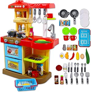 """deAO Toddler Kitchen Playset """"My Little Chef"""" with 30 Accessories Role Playing Game in RED"""
