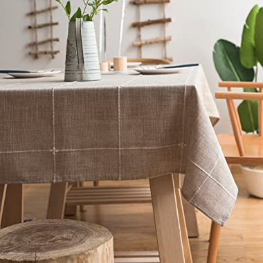 ColorBird Solid Embroidery Lattice Tablecloth Cotton Linen Dust-Proof Table Cover for Kitchen Dinning Tabletop Decoration (Square, 52 x 52 Inch, Linen)