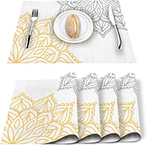 Elegant Dahlia Flowers Yellow Grey Placemats Set of 6, Cotton Linen Heat Resistant Table Mats Non-Slip Washable Placemat for Holiday Banquet Dining Kitchen Table Decor