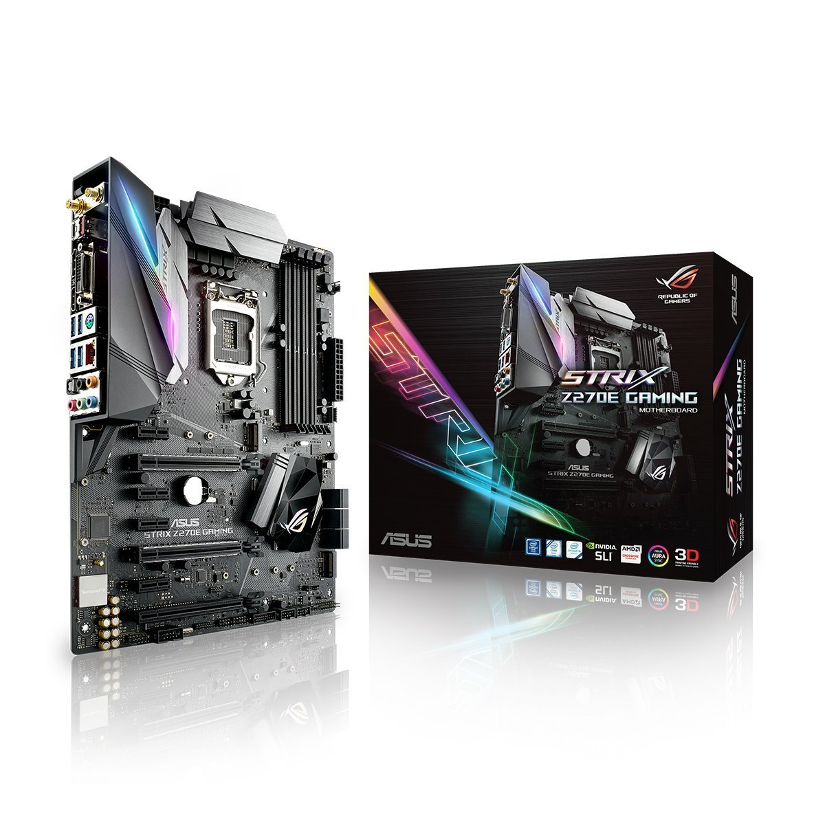 ASUS ROG STRIX Z270E GAMING LGA1151 DDR4 DP HDMI DVI M.2 ATX Motherboard with onboard AC Wifi and USB 3.1 by Asus