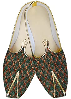 INMONARCH Traditional/Shoes for Men Cream and Golden Design Wedding Shoes MJ014882