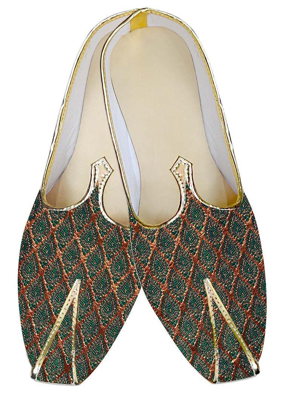 INMONARCH Hombres Dorado y Teal Boda Zapatos MJ011314 40.5 EU