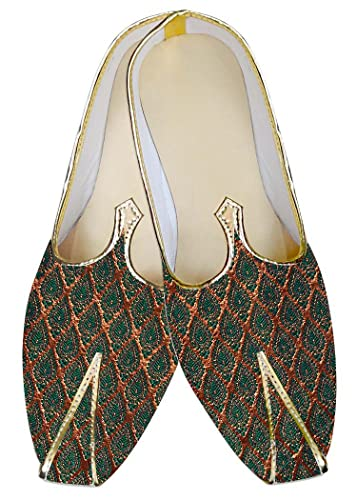 Mens Golden and Teal Wedding Shoes MJ011314