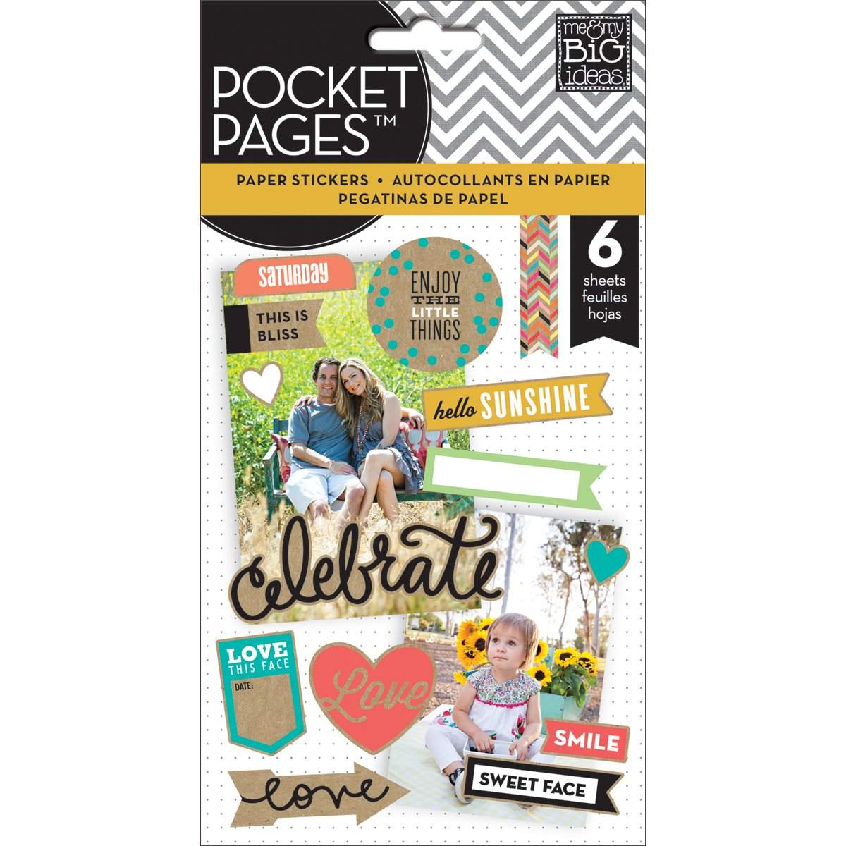 Me and My BIG Ideas PPS-06 Pocket Pages Sticker, Smile in Kraft Lettering, Flip Pack