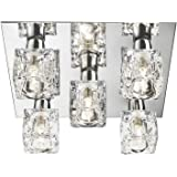 Modern 5 Light Ice Cube Flush Ceiling Light with Chrome Backplate - LED Compatible