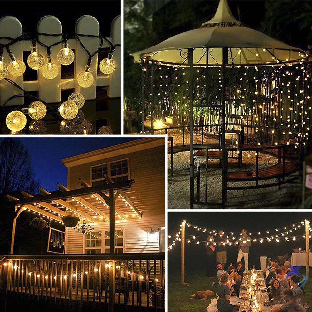 ANEAR Solar Lichterkette Außen Garten Globe 6 Meter 30er LED Wasserdicht Beleuchtung für Garten, Balkon, Party