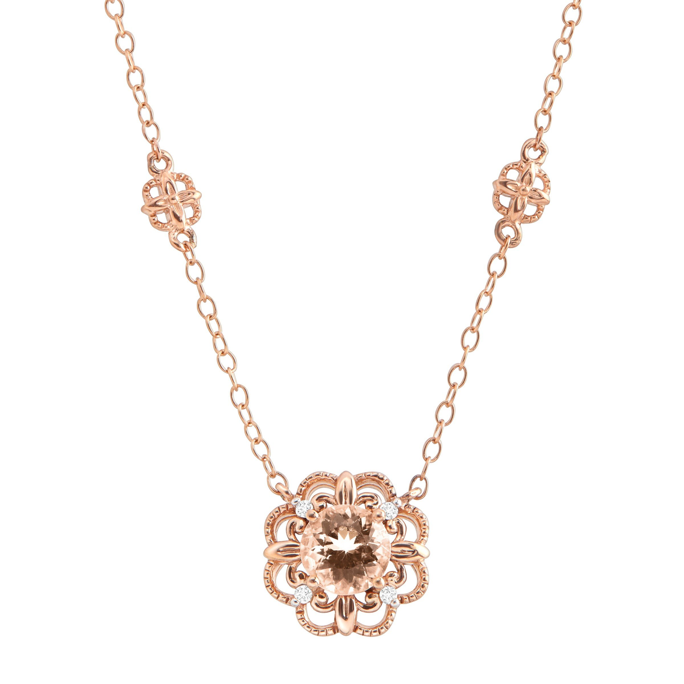 3/4 ct Natural Morganite Flower Necklace with Diamonds in 10K Rose Gold