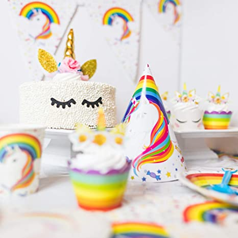 188 Pc Complete Rainbow Unicorn Birthday Party Supplies For 12 Guests