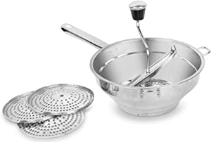 Bezrat Food Mill - Stainless Steel Kitchen Mill with 3 Discs for Mashing, Straining & Grating Fruits & Vegetables | Easy to Clean & Durable Quality