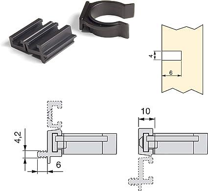 Emuca - Patas para mueble, Pies de plástico para muebles color negro, Lote de 4 pies regulables de alto 150mm