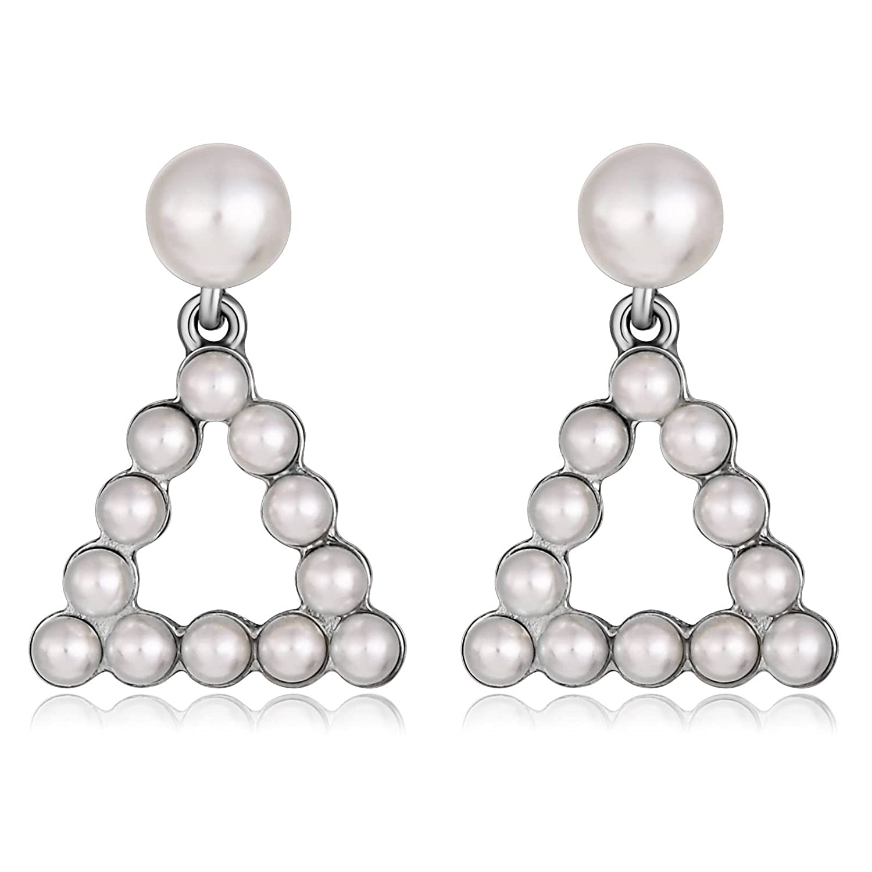 Gnzoe Jewelry Pearl Womens Earrings Gold Plated Earrings Triangle with Pearl Earrings
