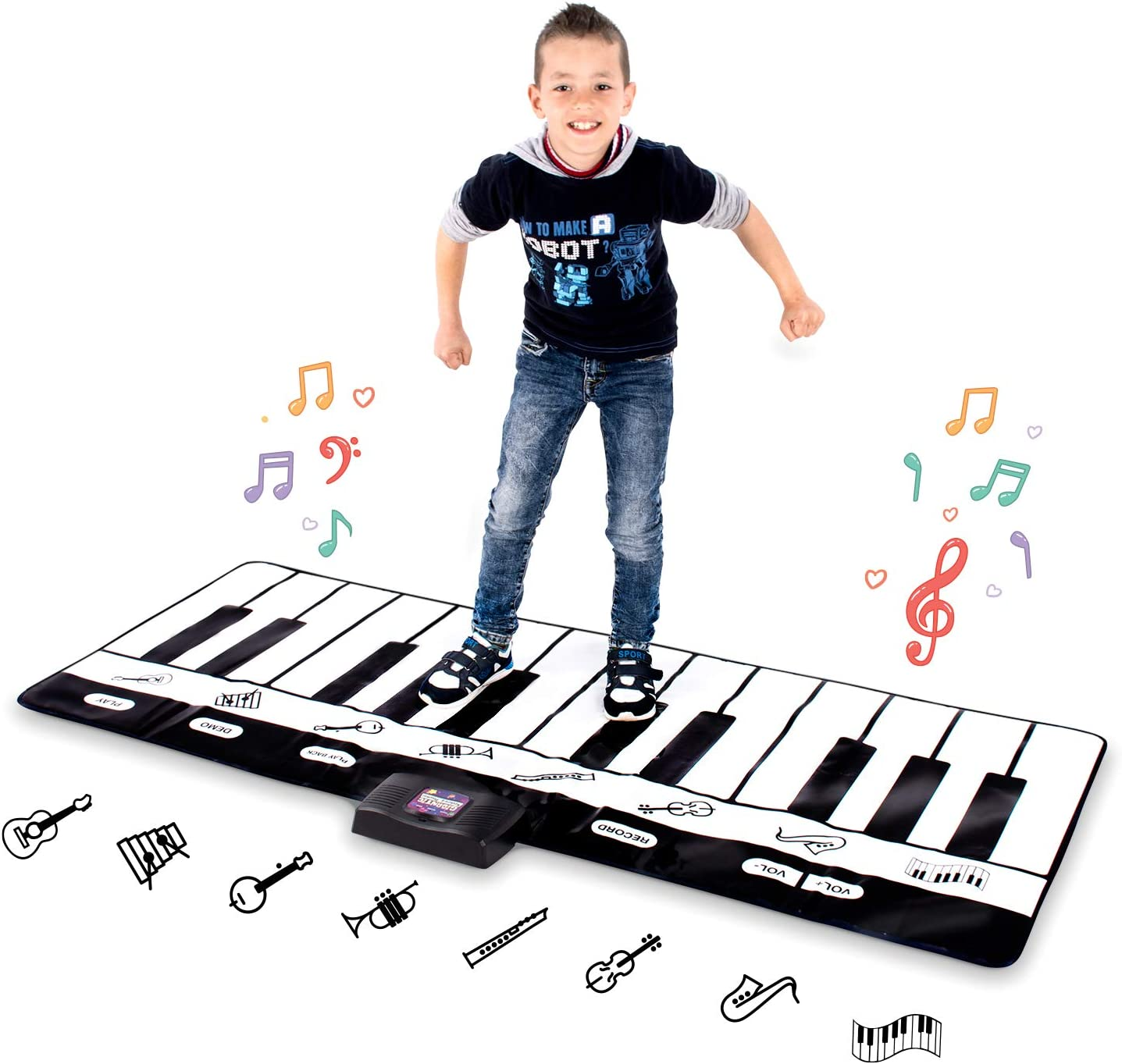 Abco Tech Giant Piano Mat – Jumbo Floor Keyboard with Play, Record, Playback and Demo Modes – 8 Different Musical Instruments Sound Options – 70in Play Mat - 24 Keys