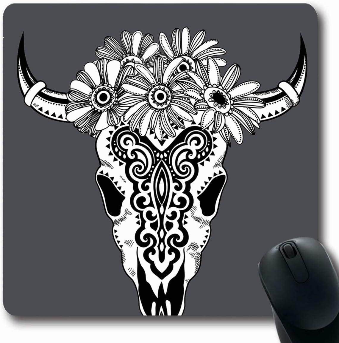 Luancrop Alfombrillas de ratón Búfalo de la Vaca Cráneo Tribal ...