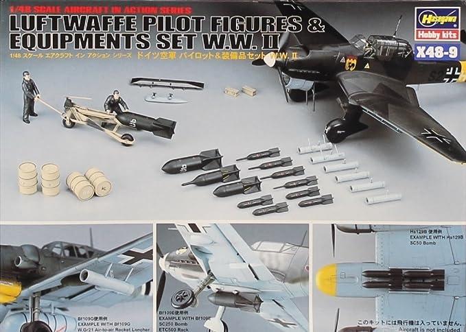 Amazon.com: Hasegawa 1: 48 Luftwaffe Pilot cifras y equipos ...
