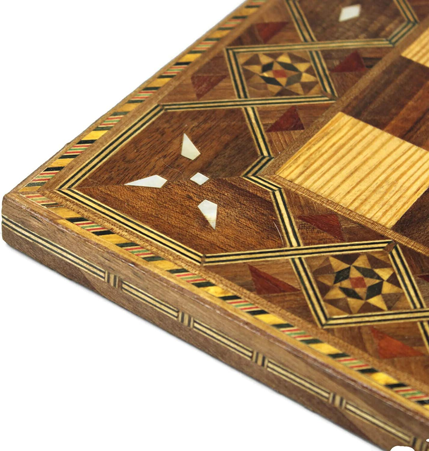 CWMD18 Chessgammon CHESS BOARD ONLY HANDMADE INLAID WALNUT WOODEN GAME BOARD MOSAIC WITH MOTHER OF PEARL TIMBER