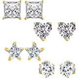 Om Jewells Fashion Jewellery Combo of 4 Gold Plated CZ Studs Earrings for Girls and Women CO1000081