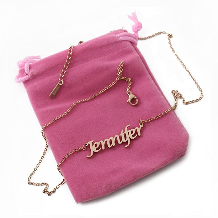 ca2a32ebedf40 Amazon.com: Jennifer Name Necklace - 18ct Rose Gold Plated: Jewelry